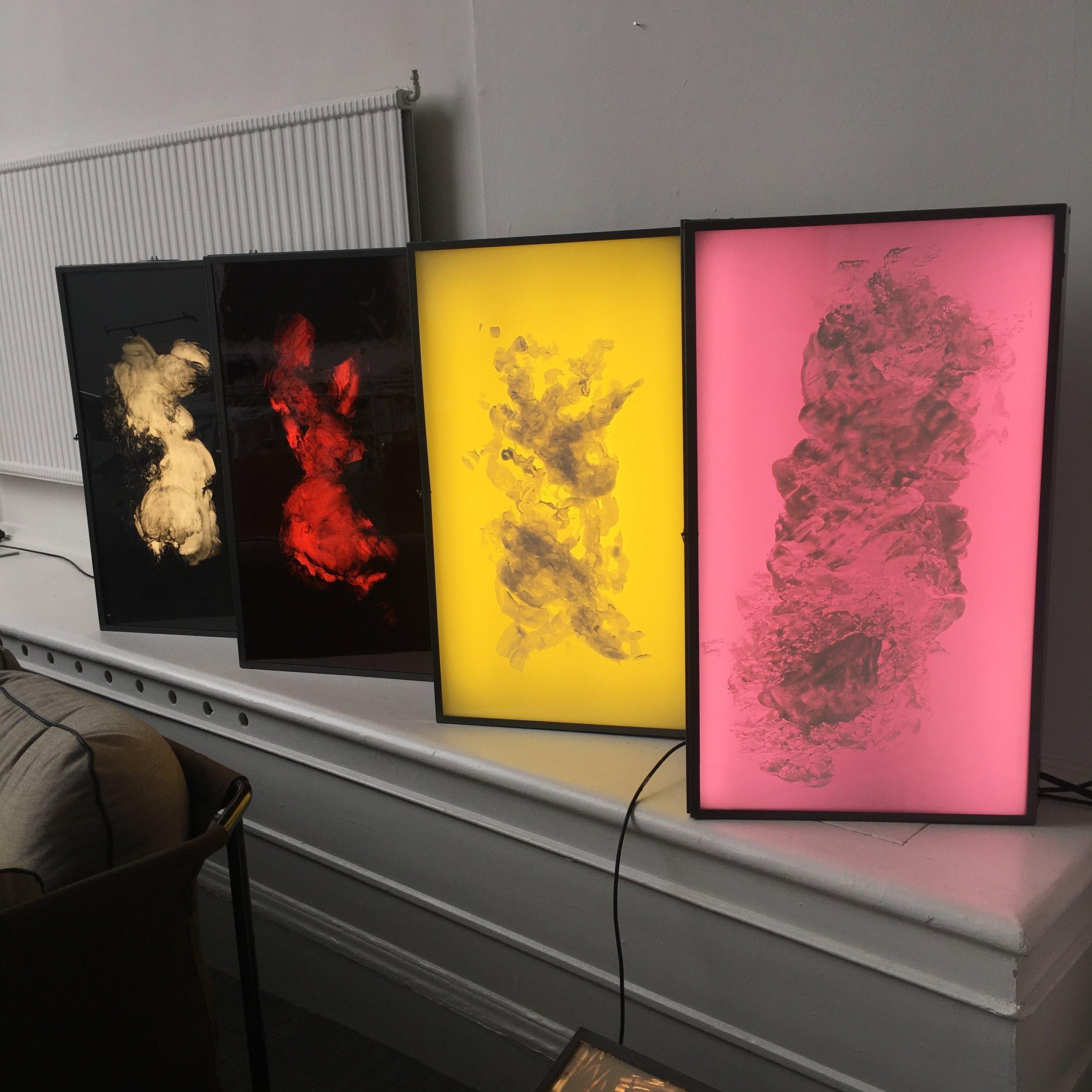 Kodak Woman Negative Series, paintings in vintage Kodak light boxes, some animated. Installation photos from Galleri Riis Showroom, Royal Academy of Fine Arts, Market Art Fair 2019.