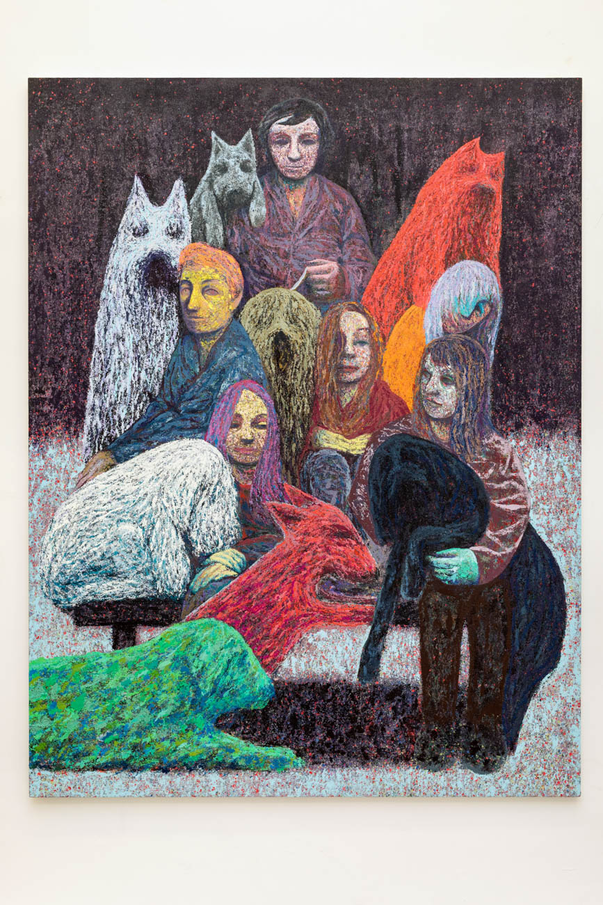 The Animal Trainers, Oil, pumice and pastel on canvas over panel, 198 x 152 cm