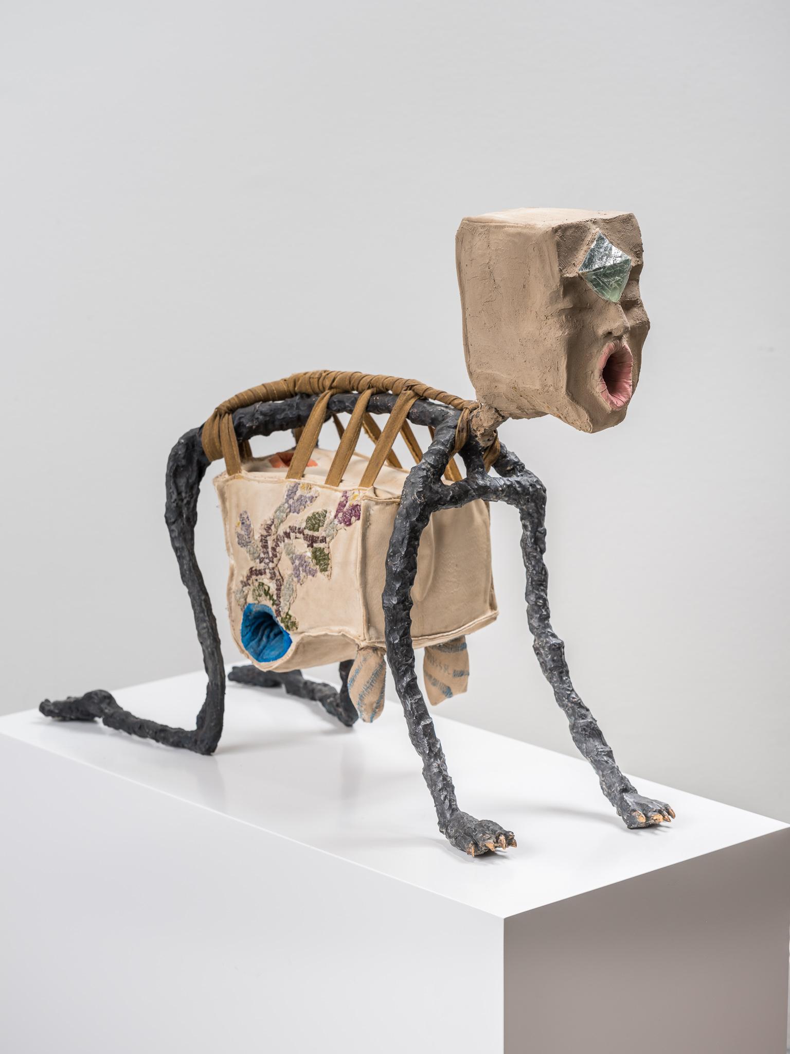 On All Four #2, 2018, Patinated bronze, clay, textile, unpolished Smoky Quartz, coral, 48,5 x 60,5 x 21 cm, Edition of 3 unique sculptures + 1 AP