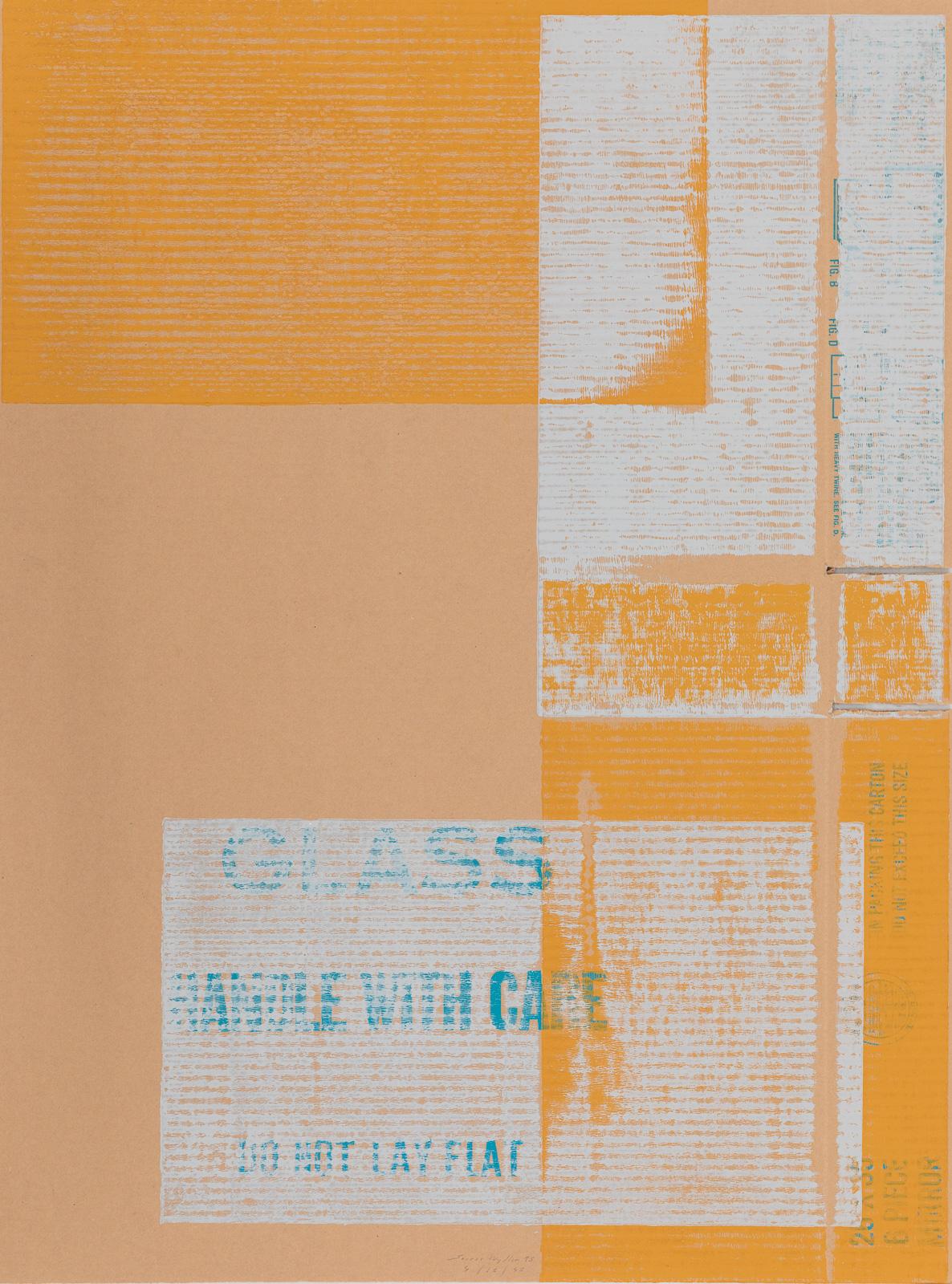 Sverre Wyller, Six Piece Flat Box, 1995, Portfolio with six woodcut prints, rubber stamp and screen print on cardboard, 88 x 65,5 cm