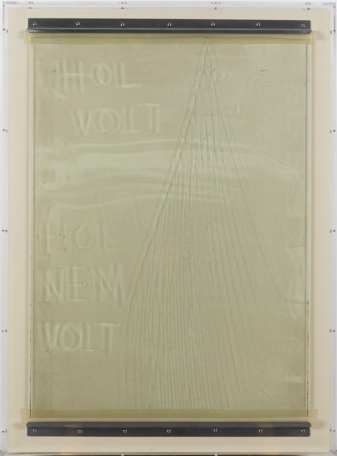 Minimal Information Hol Volt, 2020. Used glass, dust, metal fittings, rubber, in plexiglass frame, 111,5 x 81,5 x 5 cm