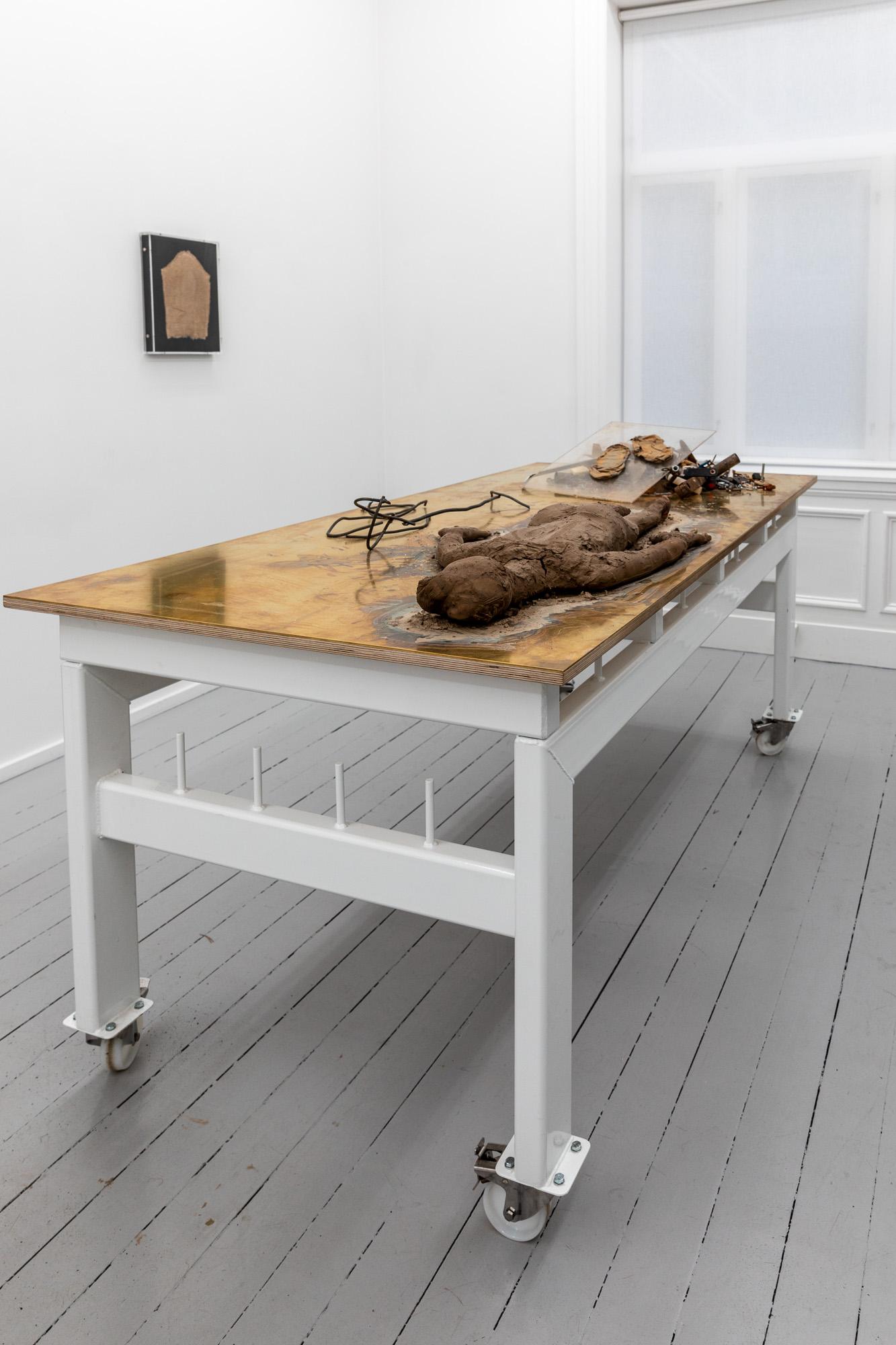 Work Table Roots (Gyökerek), 2020. Mixed media (textile, clay, steel, powder-coated steel, brass, plywood, wheels) on artist designed table, 90 x 200 x 100 cm (table)