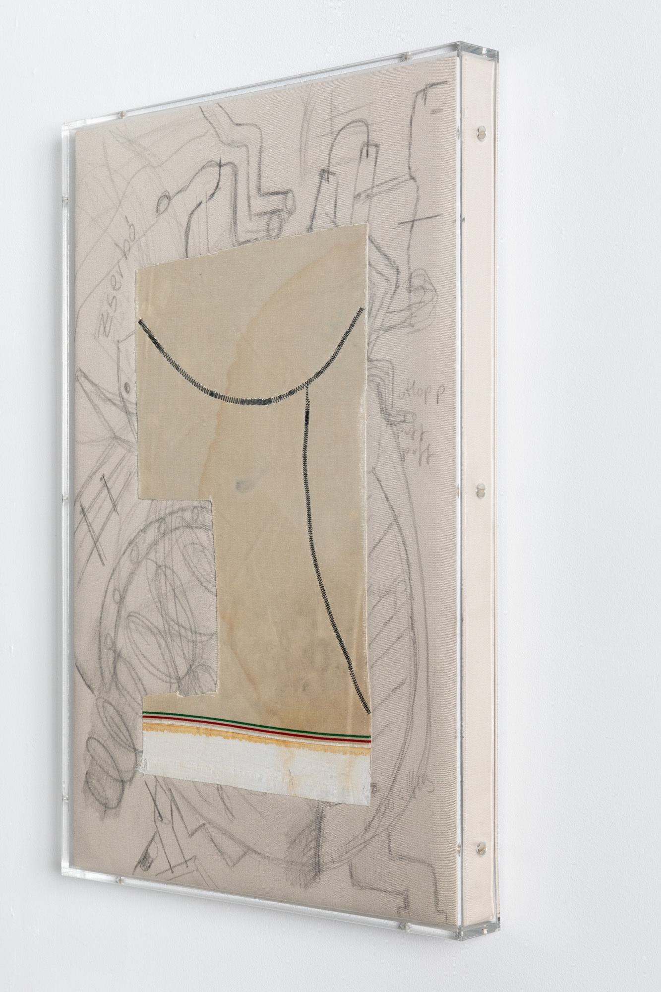Minimal Information Kroki, 2020. Pencil on textile with textile collage in artist's frame (plexiglass, wood and aluminum), 62 x 42 x 6 cm