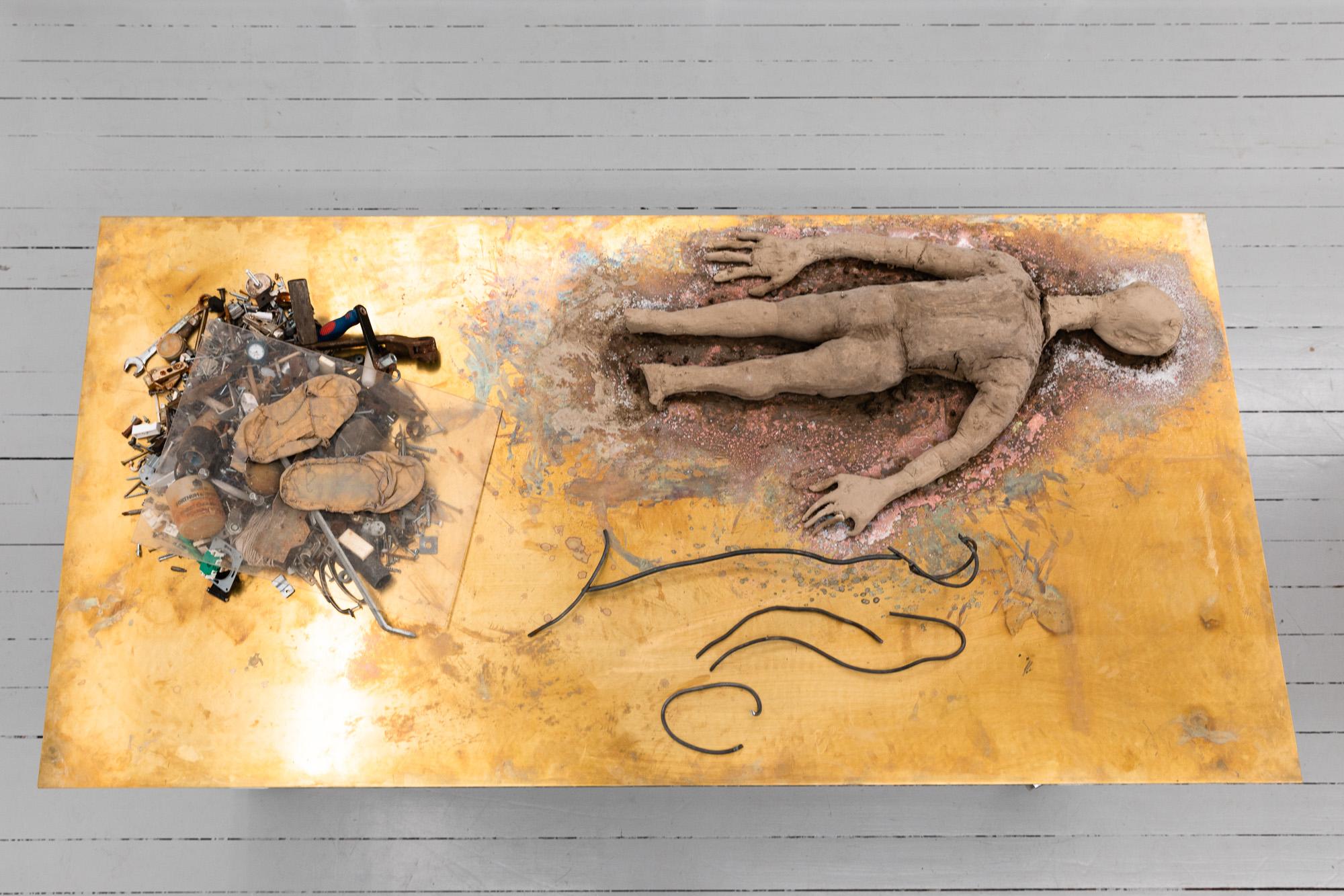 Work Table Roots (Gyökerek), 2020, Mixed media (textile, clay, steel, powder-coated steel, brass, plywood, wheels) on artist designed table, 90 x 200 x 100 cm (table)