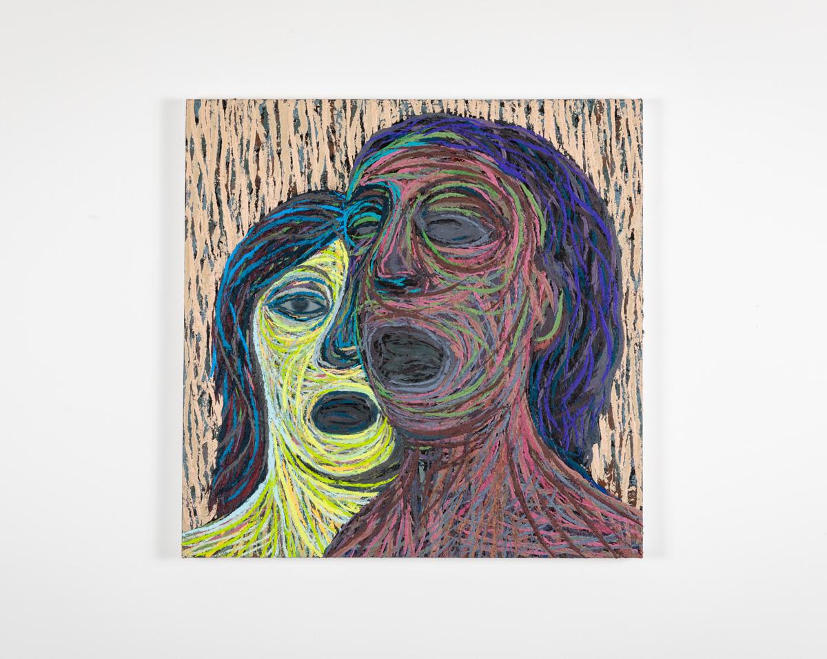 Ekkokammer, 2020-2021, Oil and pumice on canvas over panel, 51 x 51 cm