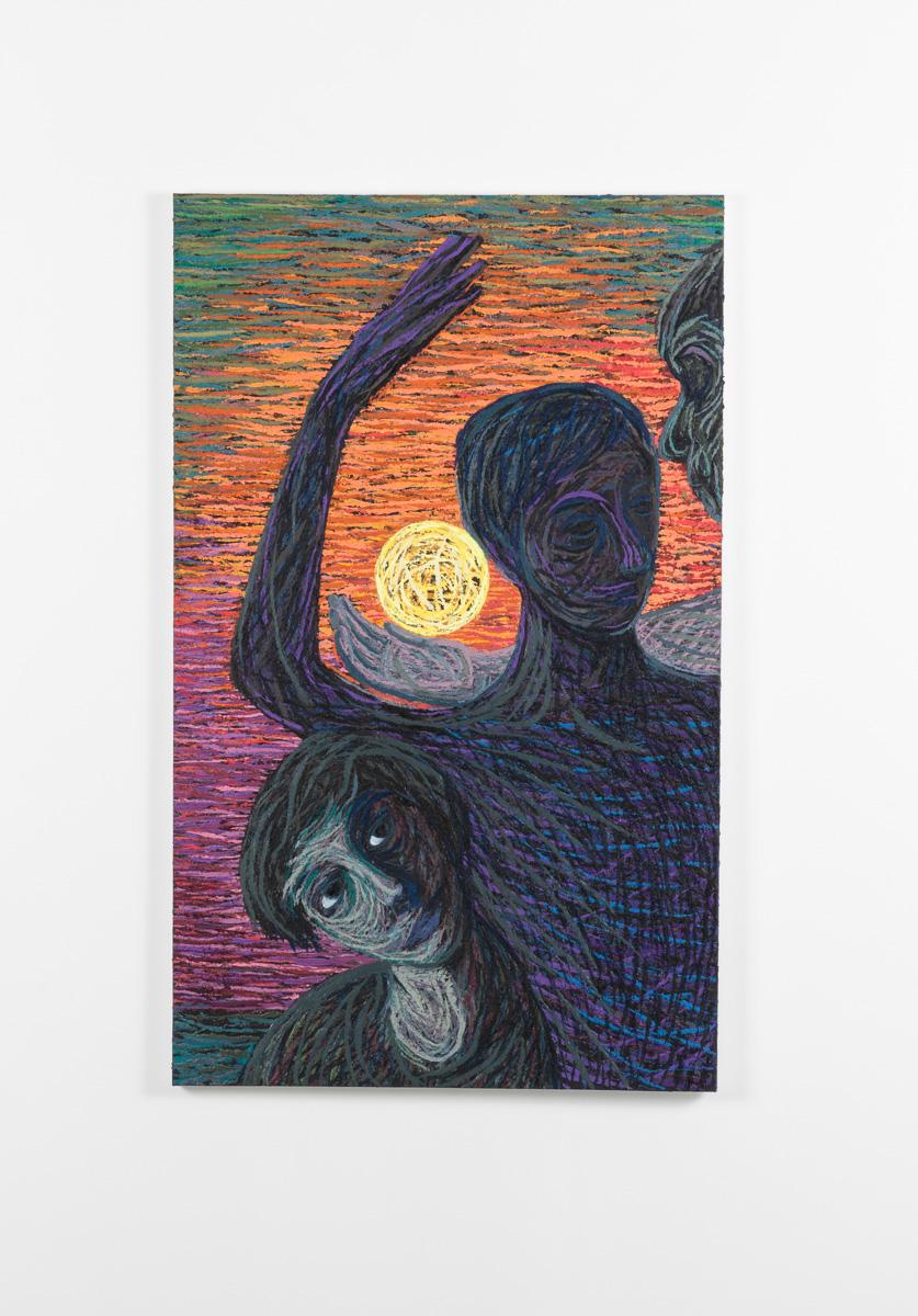 Vi er i sirkulære bevegelser, 2020-2021, Oil and pumice on canvas over panel, 111 x 68 cm