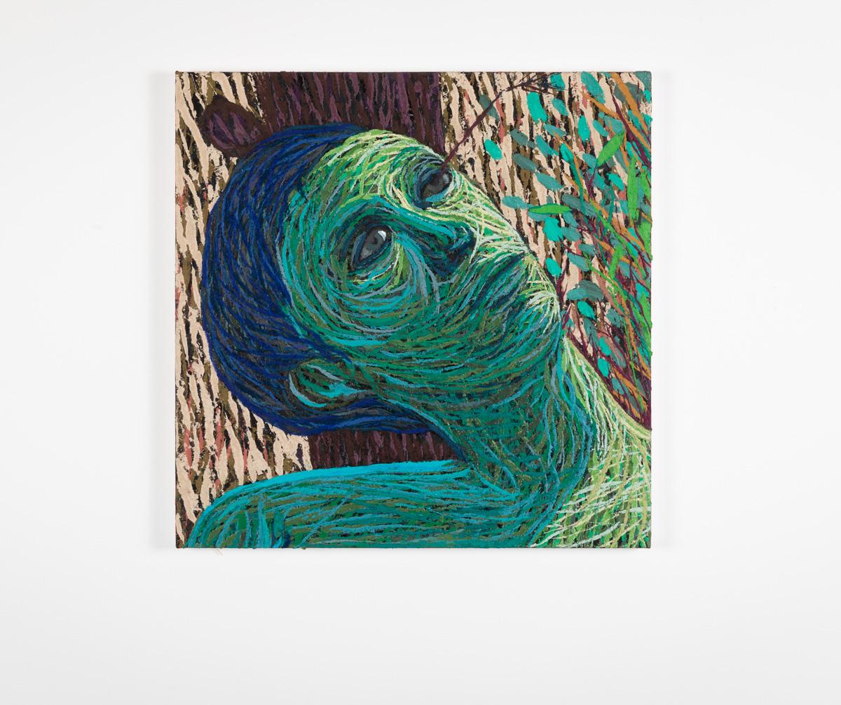 En Pil i Øyet, 2020-2021, Oil and pumice on canvas over panel, 51 x 51 cm