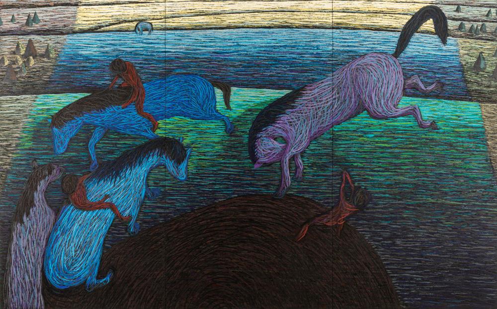 En verden av små hendelser, 2020-2021, Oil and pumice on canvas over panel, 230 x 369 cm (in three parts)