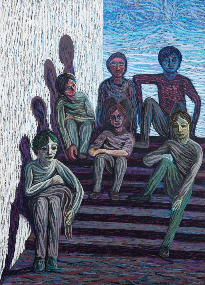 Blindeskolen, 2020-2021, Oil and pumice on aluminum panel, 208 x 150 cm