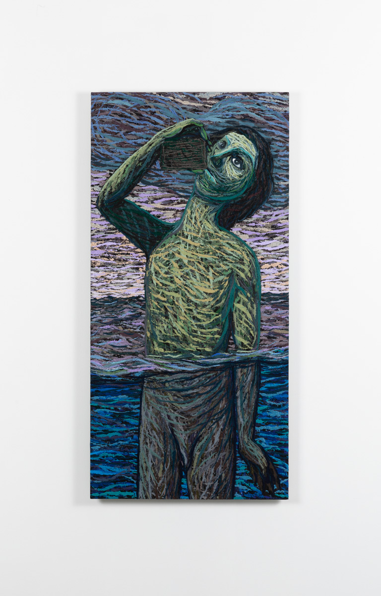 Vannlenseren, 2020-2021, Oil and pumice on aluminum panel, 122 x 59,5 cm