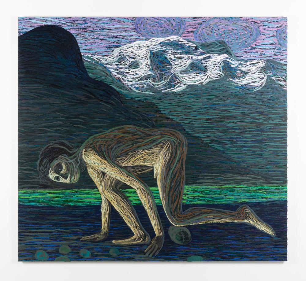 Mann mot stein, 2020-2021, Oil and pumice on aluminum panel, 150 x 165 cm
