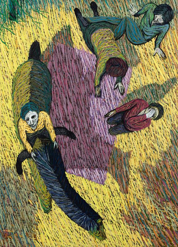 Travers i sporet, Oil and pumice on aluminum panel, 208 x 150 cm