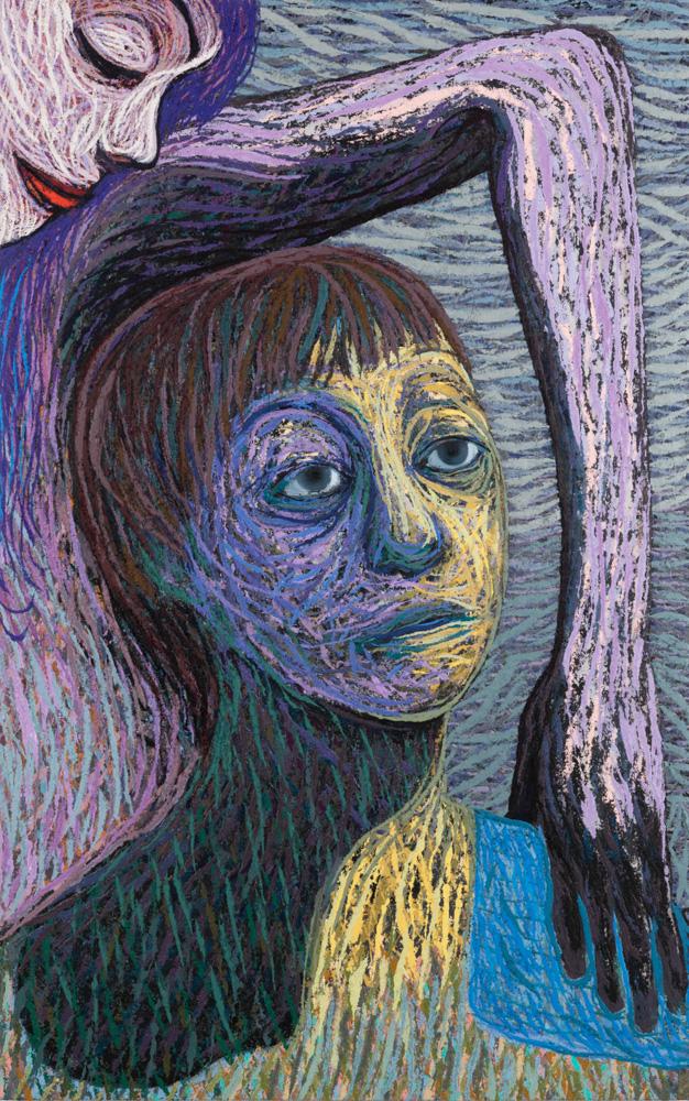 Det som betyr alt nå og ingenting senere, Oil and pumice on canvas over panel, 124 x 78 cm