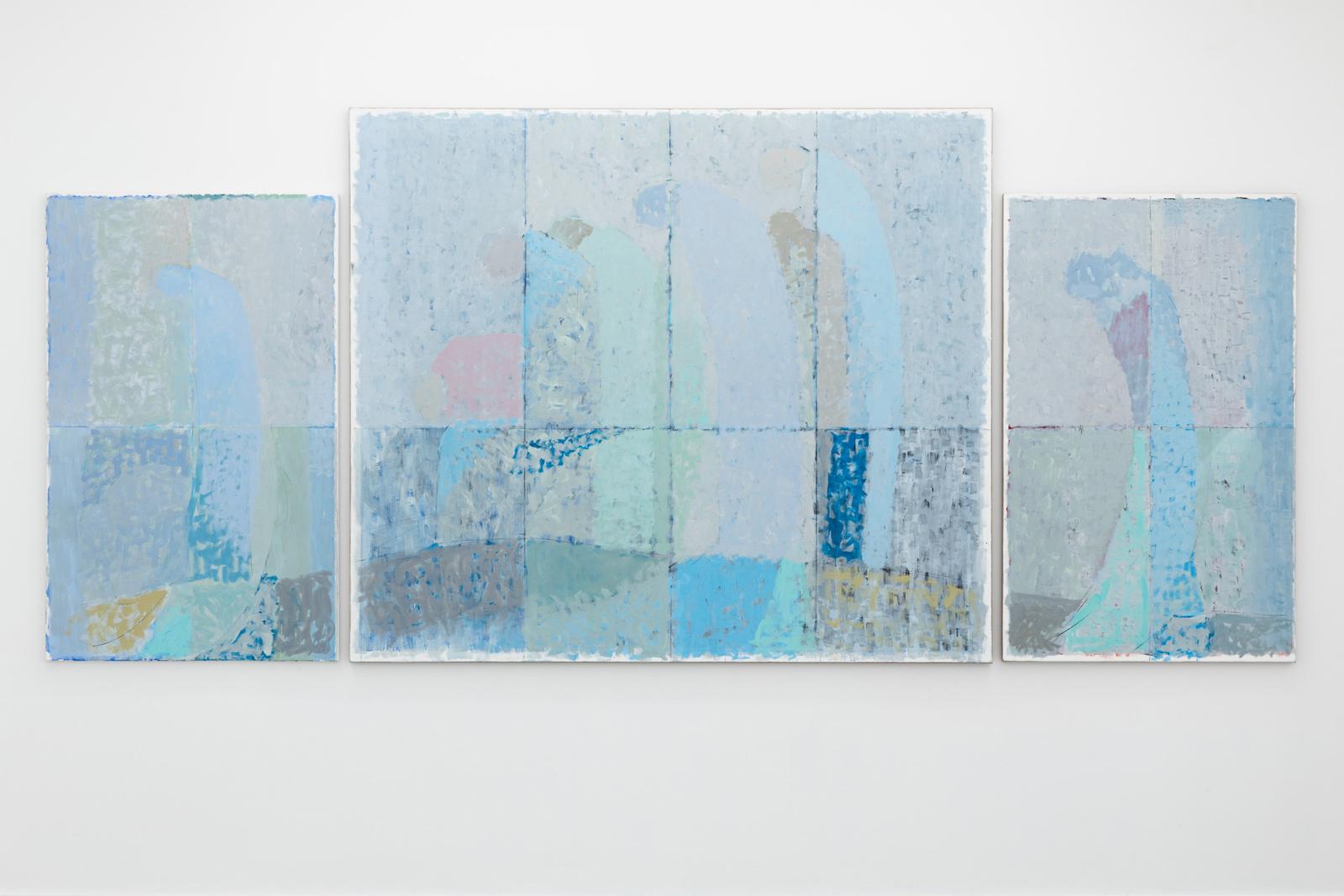 Pilegrimer, 2021, Egg tempera on canvas, 190 x 430 cm (in three parts)