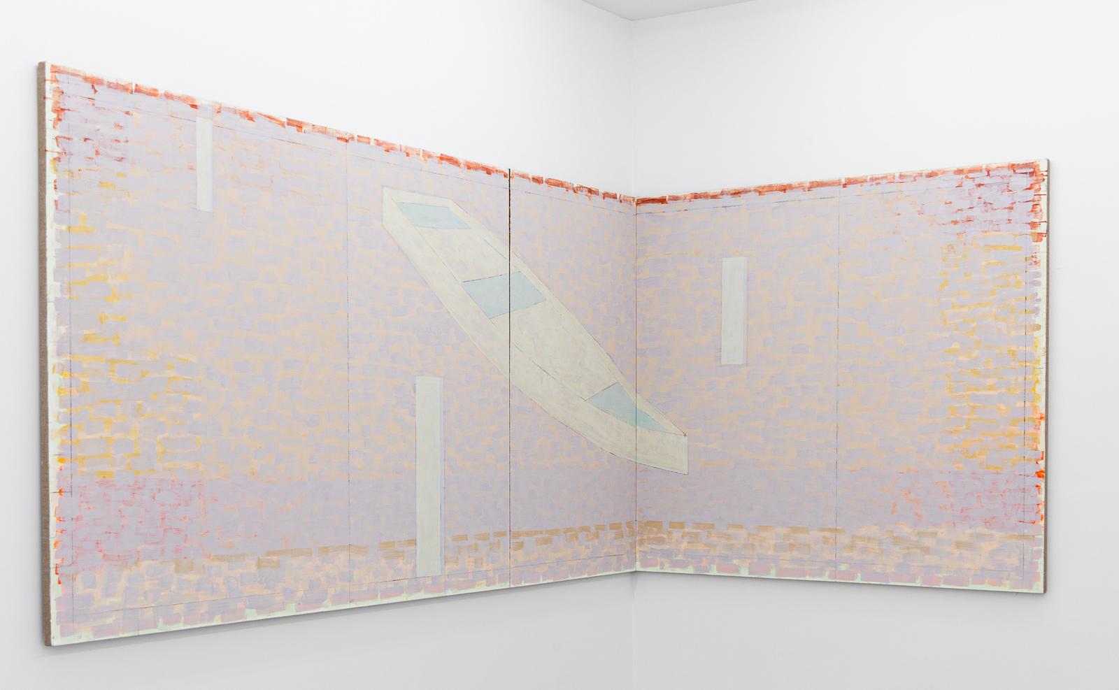 Donau, 2020, Egg tempera on canvas, 155 x 470 cm (in three parts)