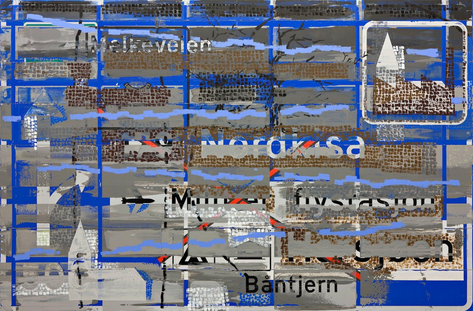 Nordkisa II, 2008-2010, acrylic on used sign board, 292 x 441 cm