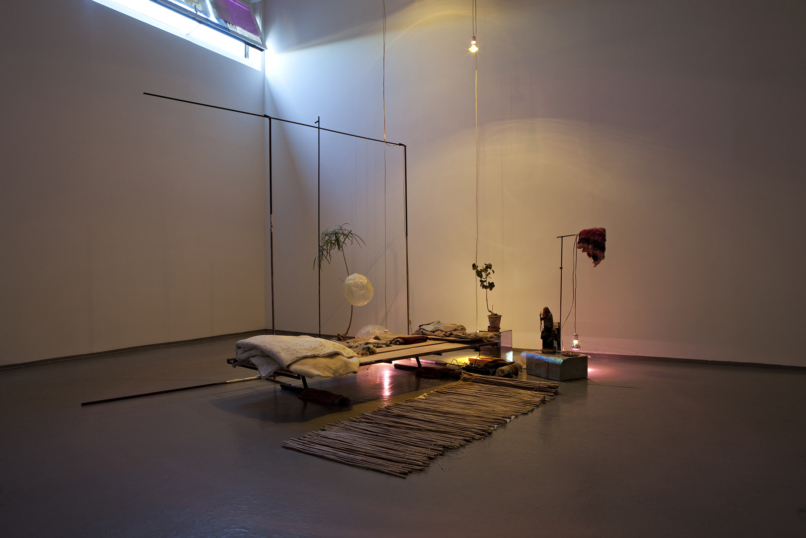 Civilization and its Discontents, 2010, painted steel, knitting, textiles, mirror, disco spots, concrete, pc + projector, loudspeakers, ceramic, plants, incense, cigarette butts, lamb sheet, bamboo, paper, folie, 3D print