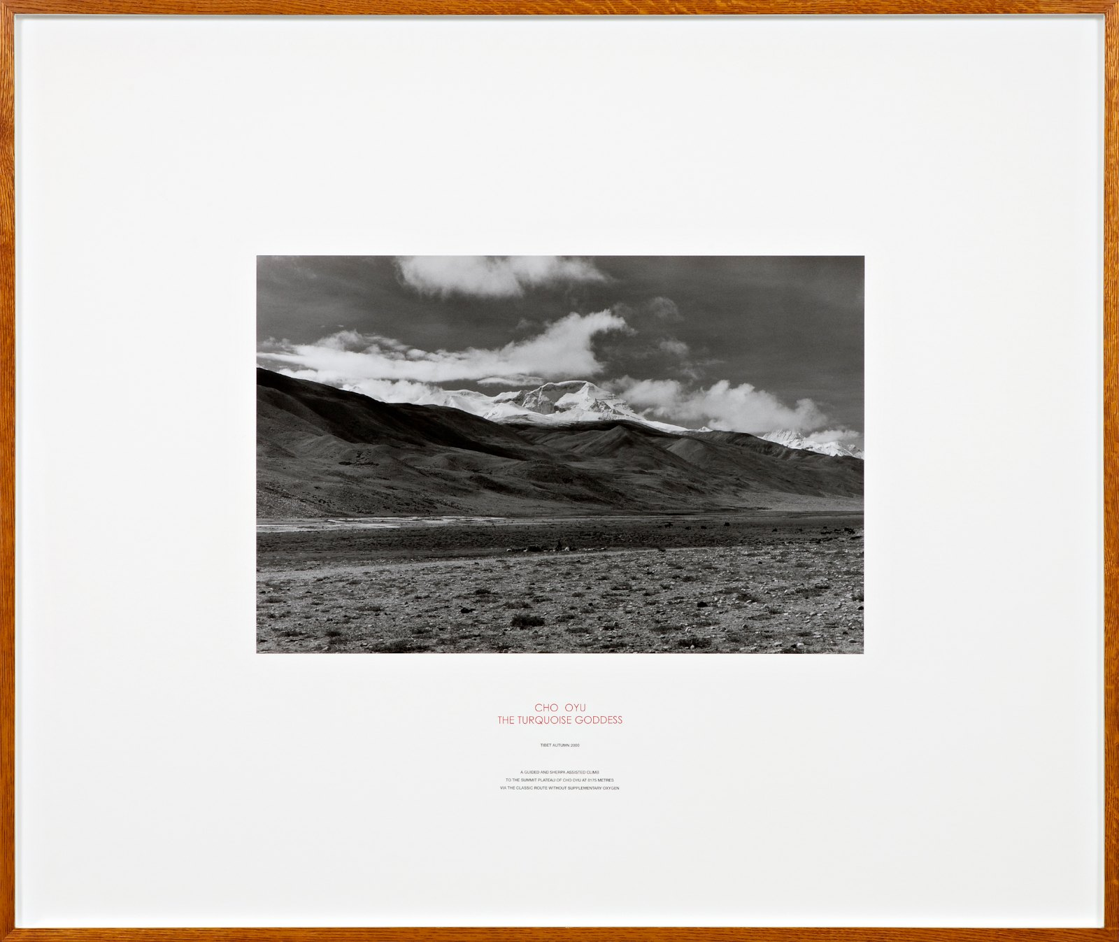 Cho Oyu, Tibet 2000, silver gelatin photograph and letterpress in artist frame, unique, 116,5 x 138,5 cm