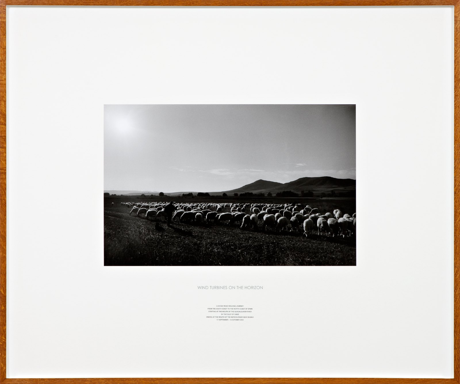 Wind Turbines on the Horizon, Spain 2003, silver gelatin photograph and letterpress in artist frame, unique, 116,5 x 140 cm