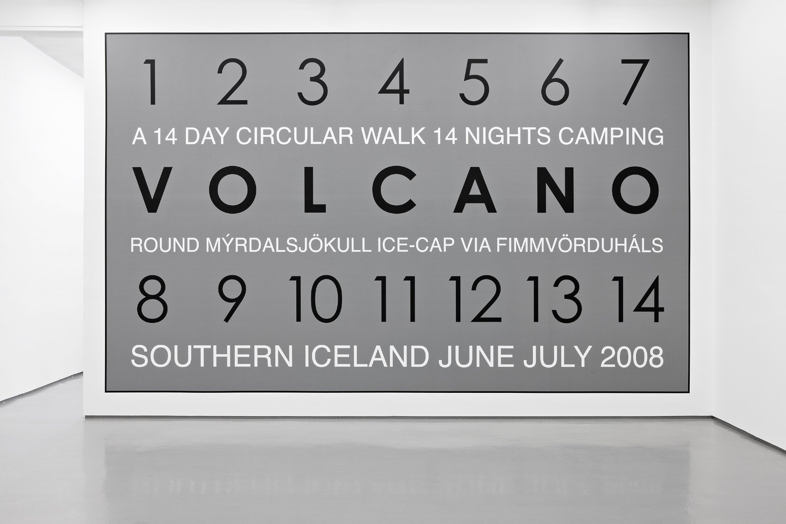 Volcano, Iceland 2008, vinyl text on painted wall, unique, 400 x 653 cm