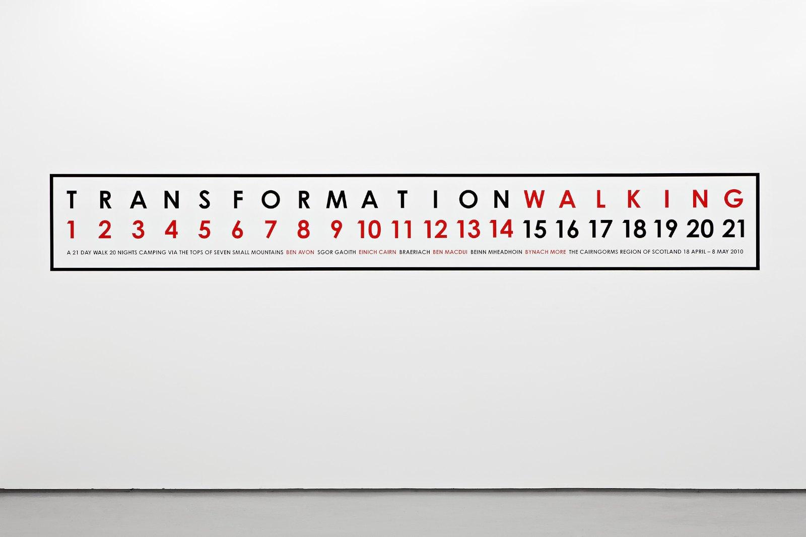 Transformation Walking, Scotland 2010, vinyl text on painted wall, unique, 82,5 x 600 cm
