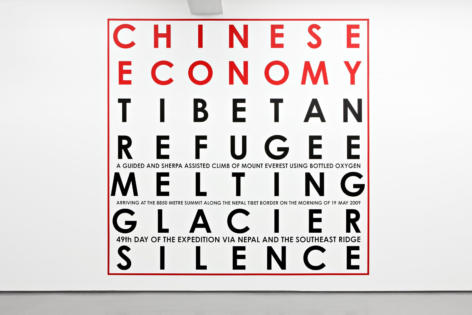 Chinese Economy, Mount Everest 2009,Vinyl text on painted wall, unique, 400 x 410 cm