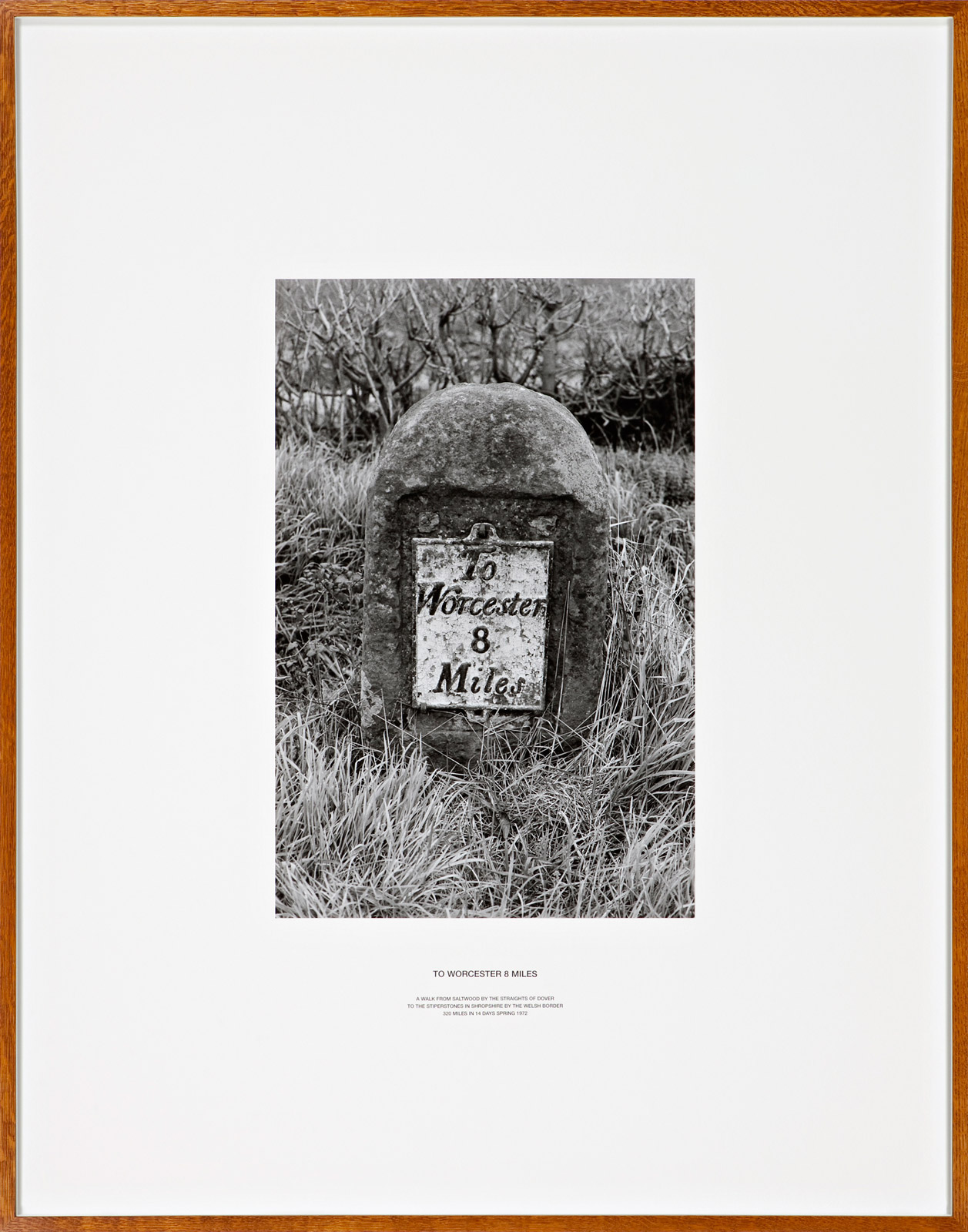 To Worcester 8 Miles, England 1972, silver gelatin photograph and letterpress in artist frame, unique, 141 x 111 cm