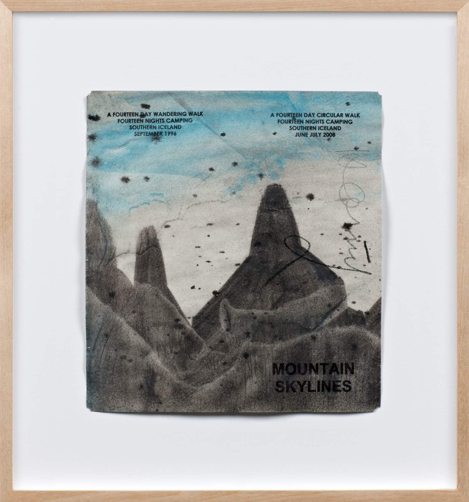 Mountain Skylines, Iceland 1996, 2008, acrylic paint on paper with ink stamps, 20,5 x 18,5 cm