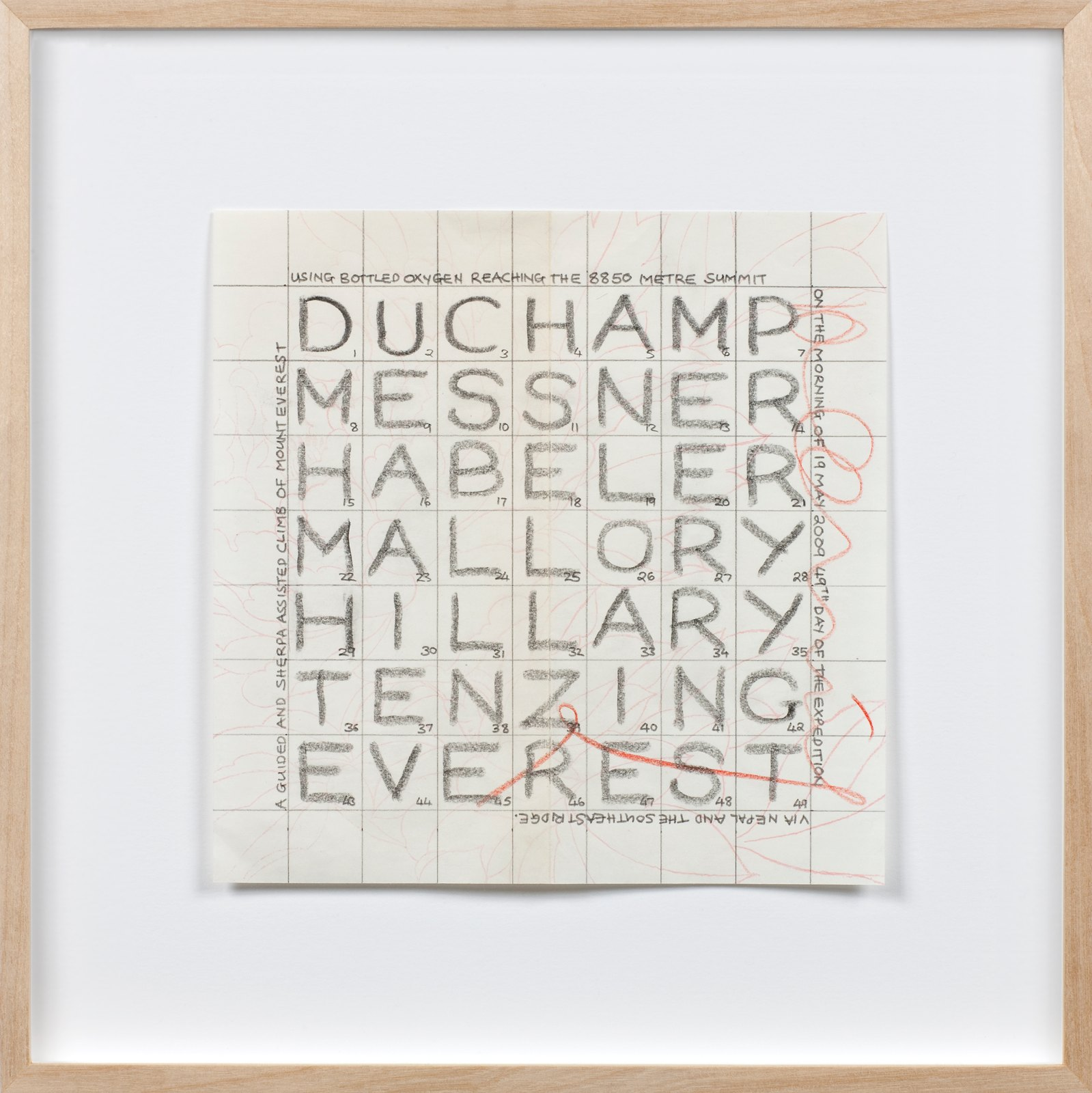 The Names of Seven Men, 2009, pencil and coloured pencil text on Chinese printed paper, 18 x 18 cm