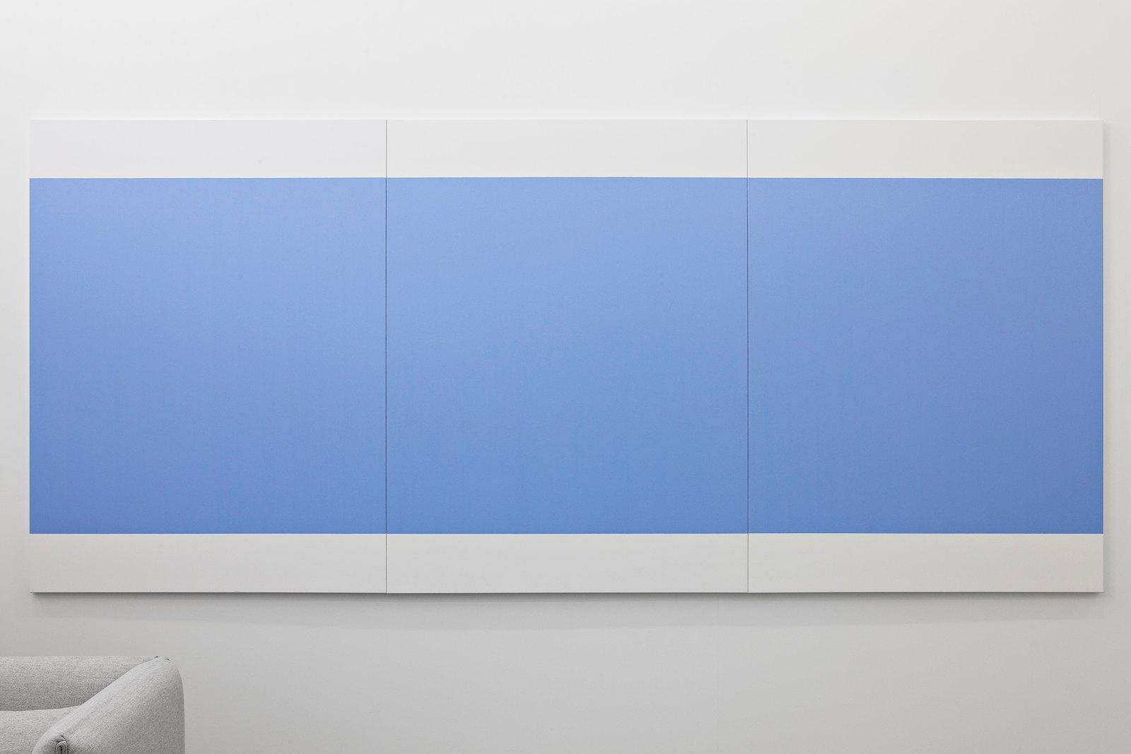 Three cobalt blue squares (blue band), 2007-2009, oil on canvas, 180 x 405 cm (3 parts)