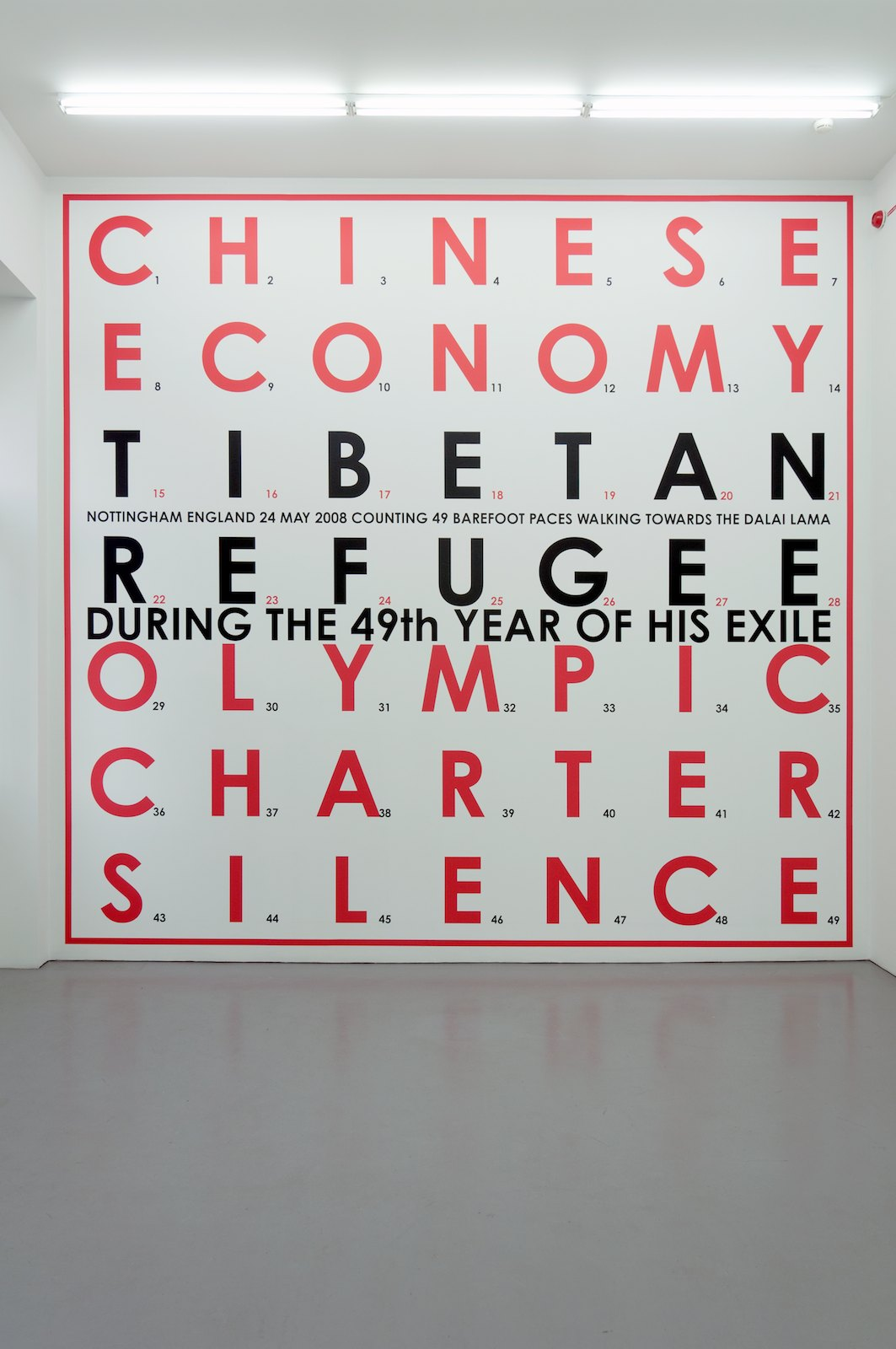 Tibetan Refugee, 2008, wall painting with vinyl text, 455 x 482 cm