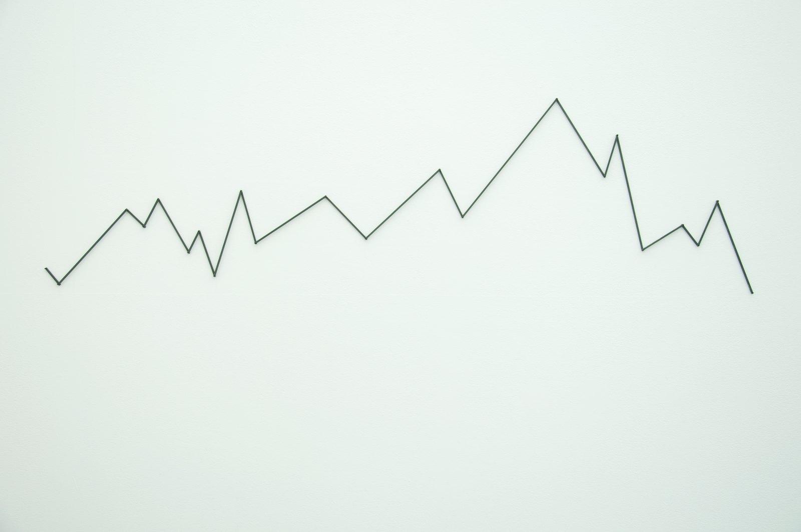 Mountain Skyline, Mercantour, France, 2001, walk text with pencil on painted wood, 62 x 226 x 1,5 cm