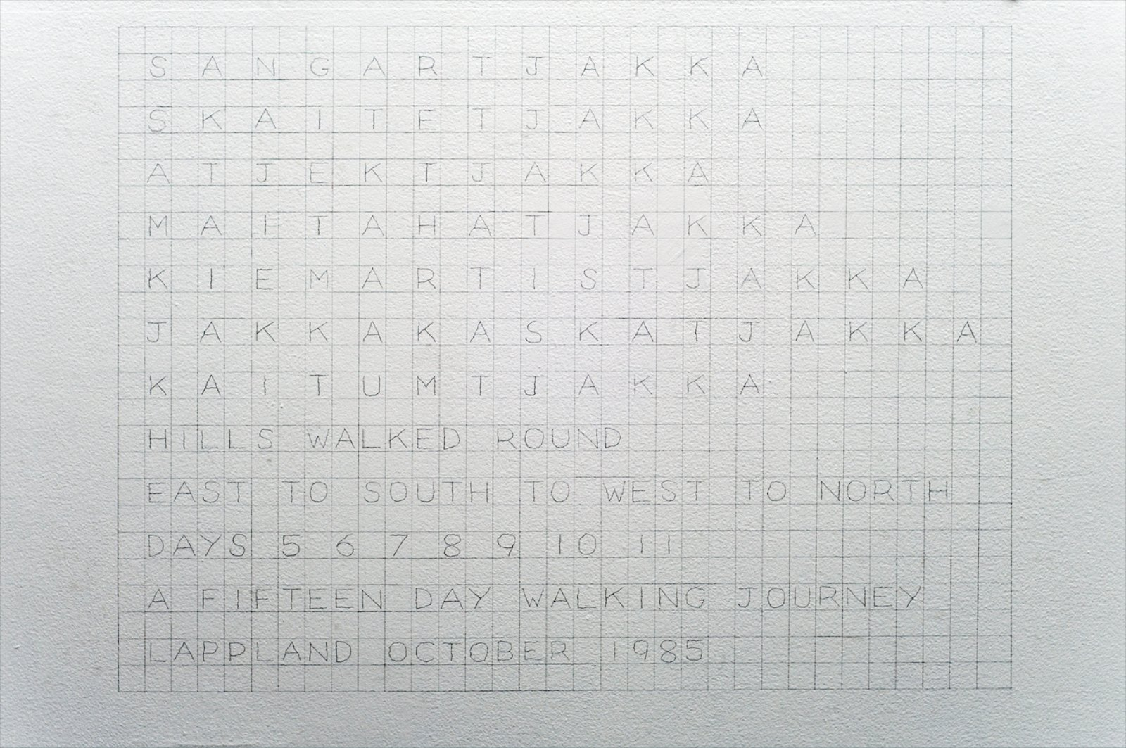 Hills Walked Round, Lappland, 1985, pencil drawing on wall, 100 x 132 cm
