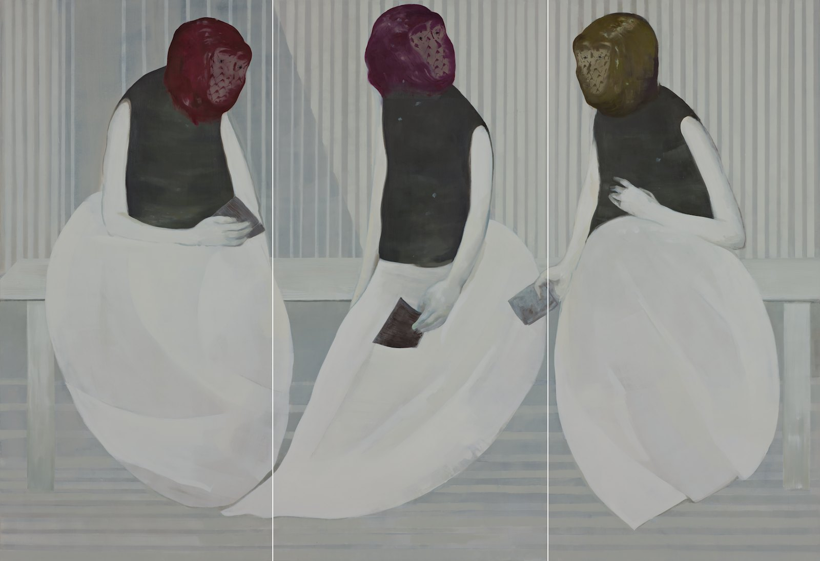 The Face Cheats, 2012, oil on canvas over panel, 198,5 x 289,5 cm (3 parts)