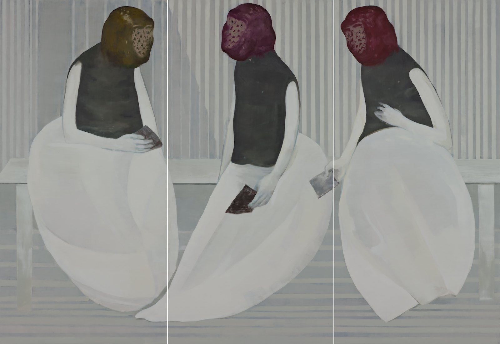 The Face Cheats Also, 2012, oil on canvas over panel, 198,5 x 289,5 cm (3 parts)