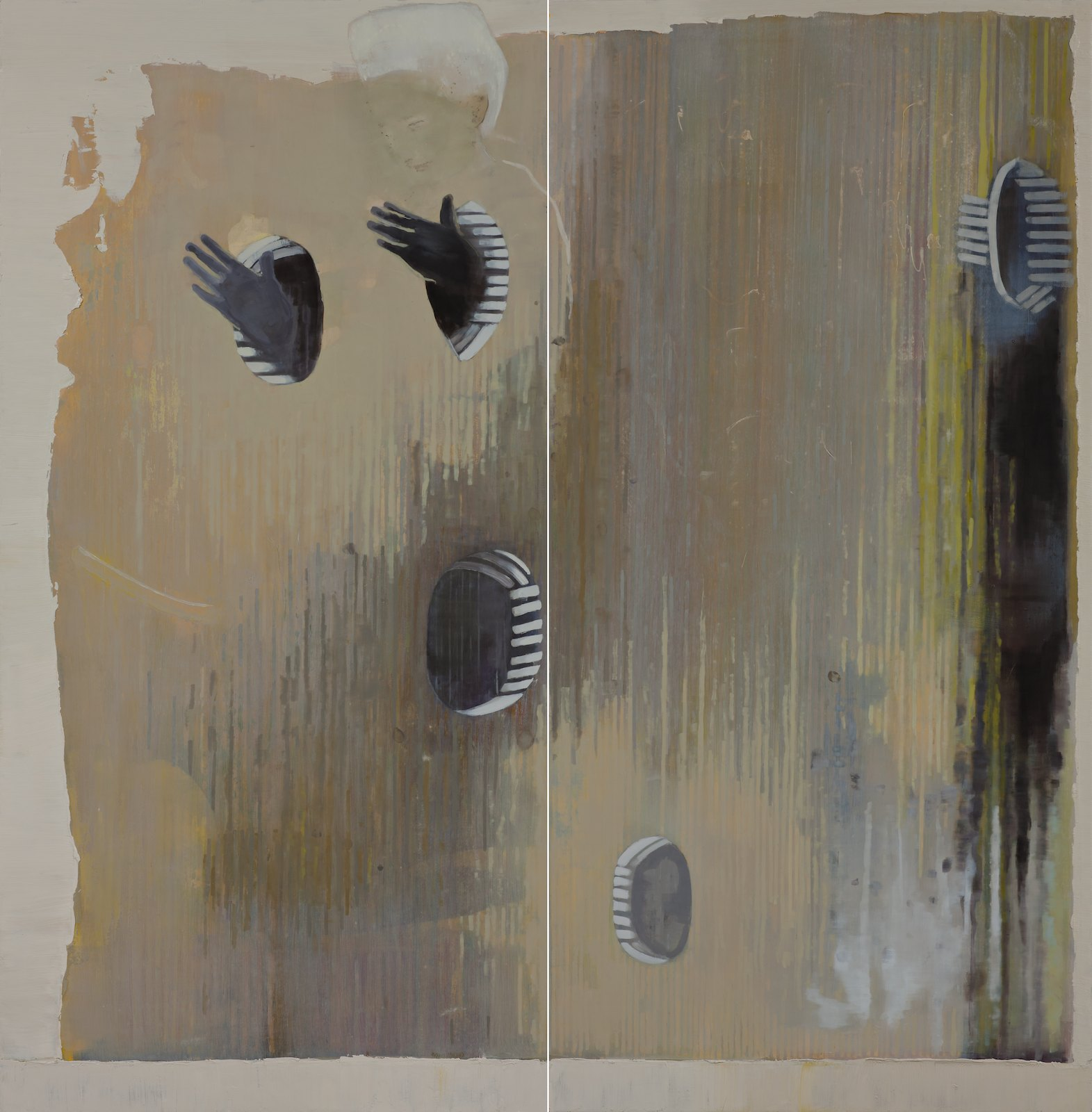 The Touch Evolves its Twin, 2012, oil on canvas over panel, 198,5 x 193,5 (2 parts)