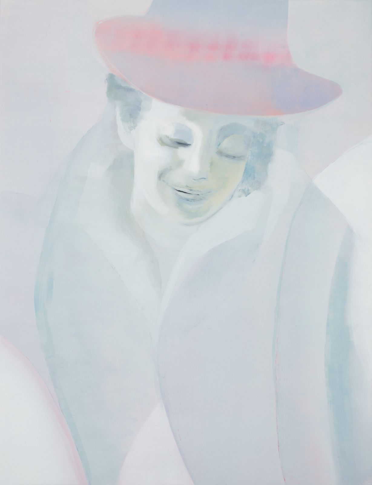 Dover's Hats (pink green), 2012, oil on canvas over panel, 77 x 59 cm