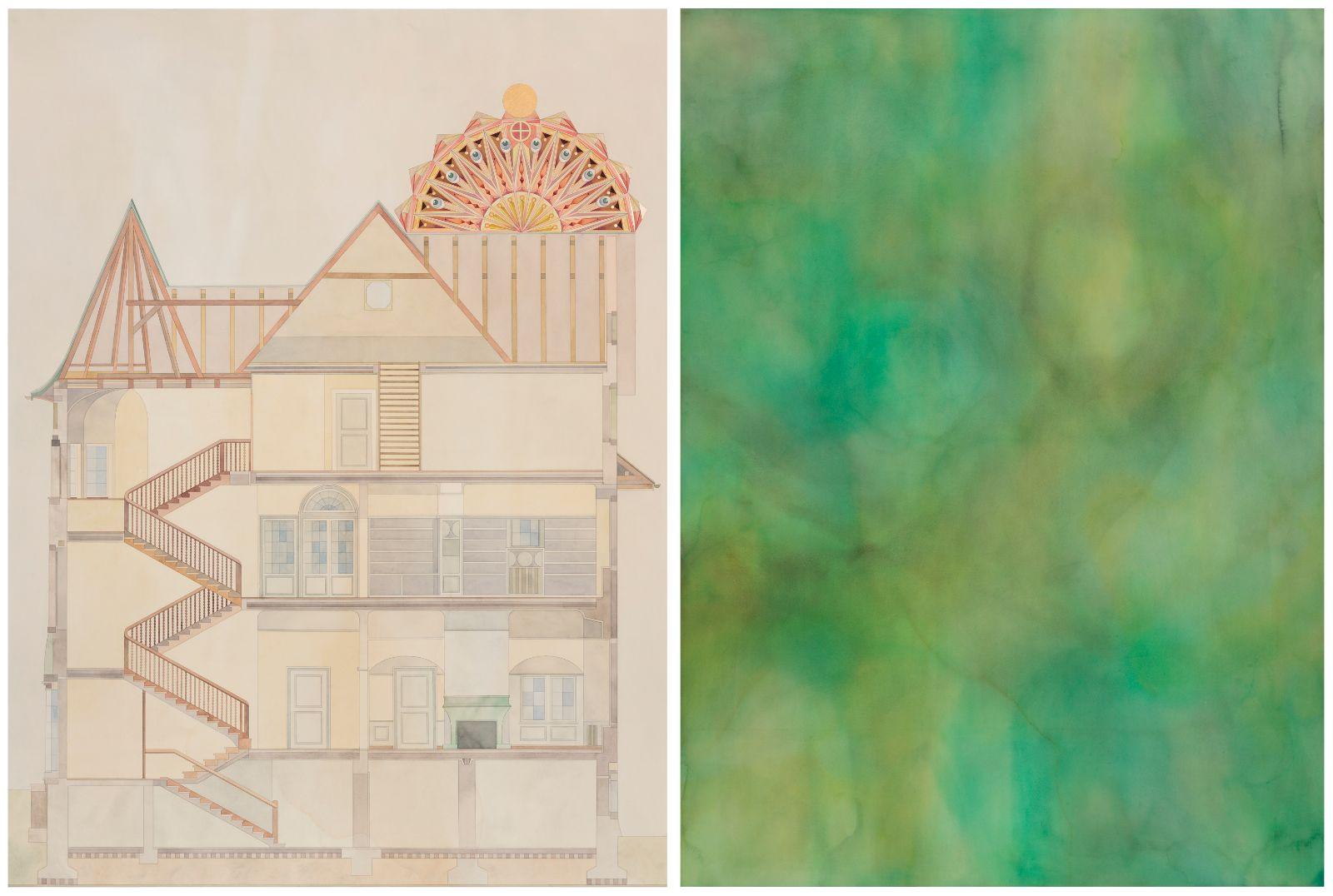 Das Haus des C.G Jungs mit Geist / Der Traum V, 2013, watercolour and gold-leaf on paper, 196 x 144 / 196 x 144 cm