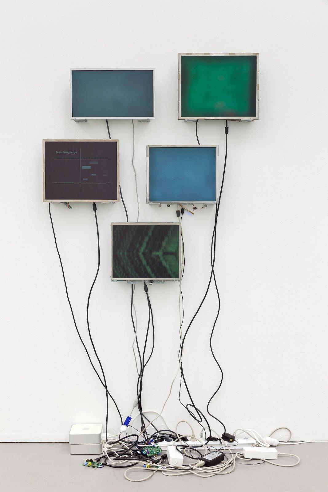 Grönt brus, 2013, video installation with sound: five monitors, three single-board computers, two Mac Mini, 203 x 110 x 20 cm