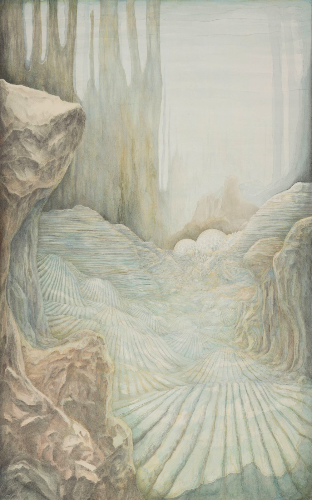 Atlantis Biosfärer, 2013, watercolour and water-soluble colour pencil on paper, 146 x 91,5 cm