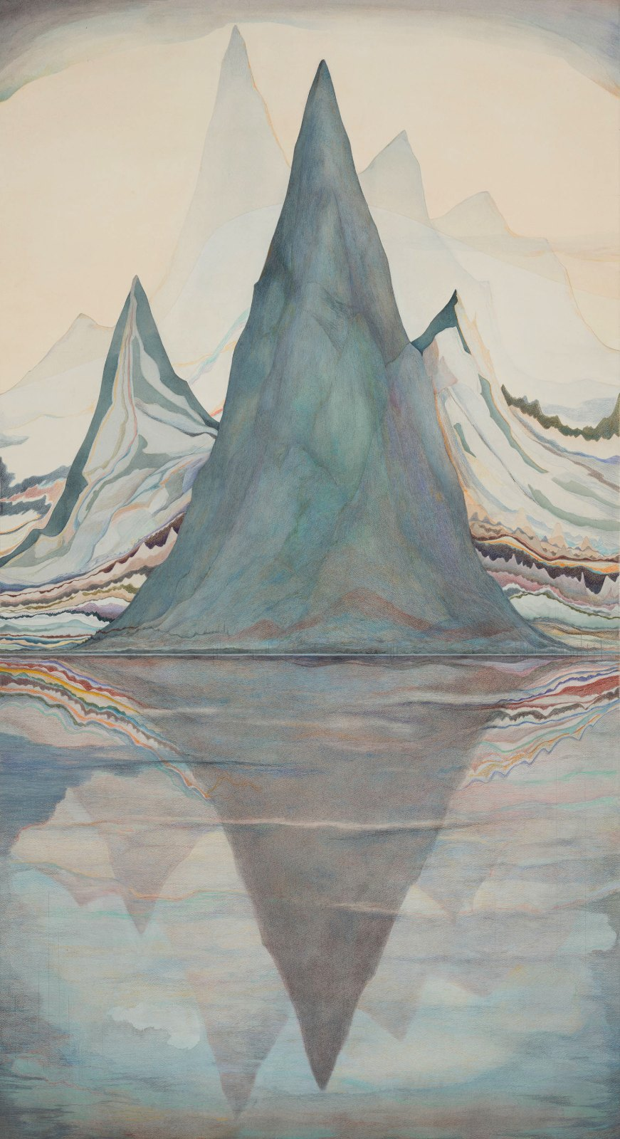 Ljudgraf, 2013, watercolour and water-soluble colour pencil on paper, 170 x 92 cm