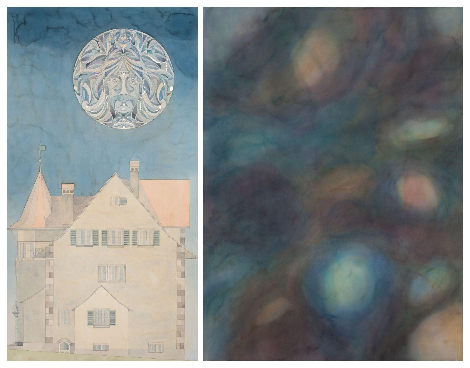 Das Haus des C.G Jungs mit Khonsu / Der Traum III, 2012, watercolour and gold-leaf, palladium leaf on paper, 198 x 107 / 198 x 146 cm