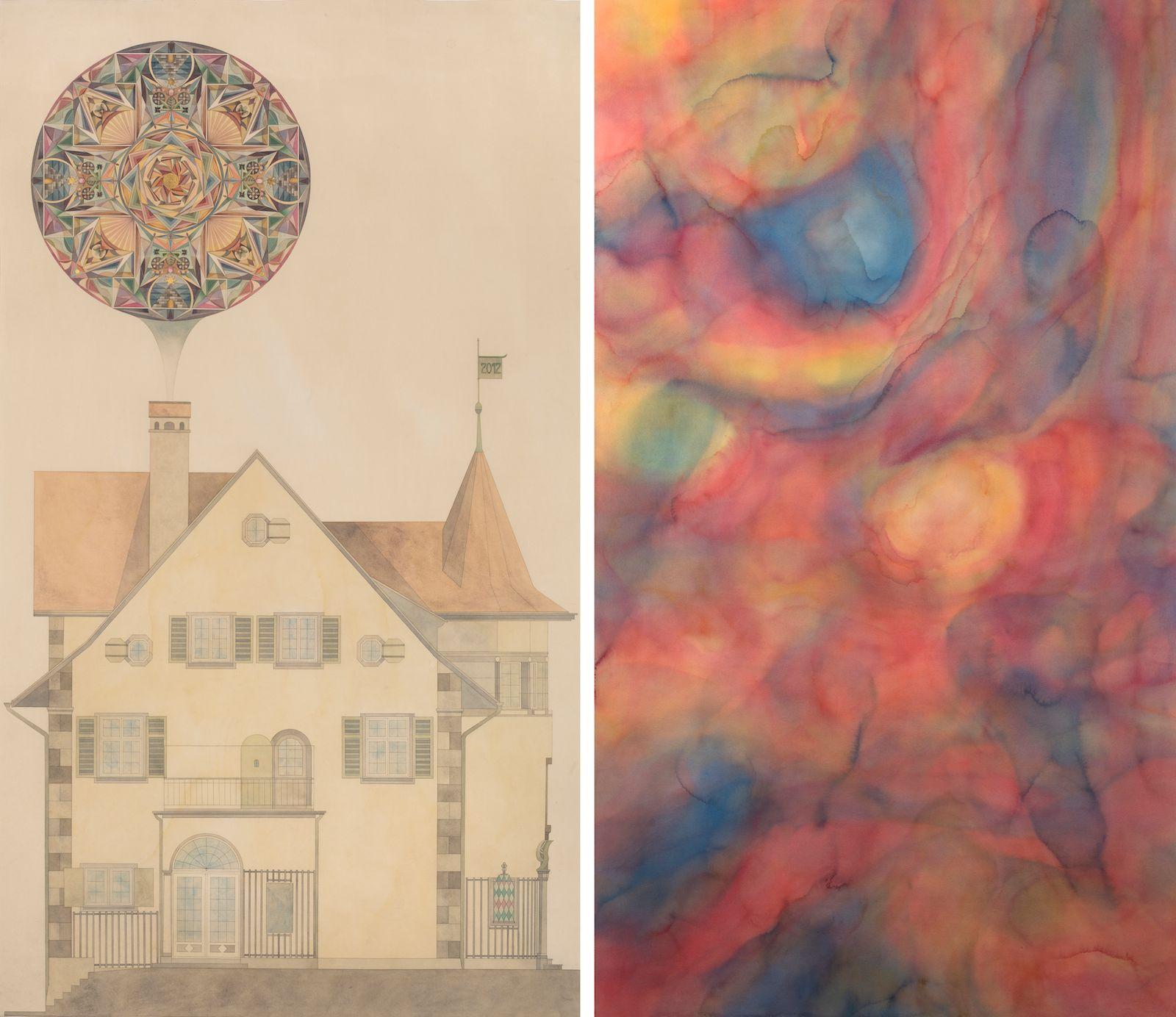 Das Haus des C.G Jungs mit Mandala / Der Traum I, 2012, watercolour and gold-leaf on paper, 198 x 113 / 197 x 114 cm