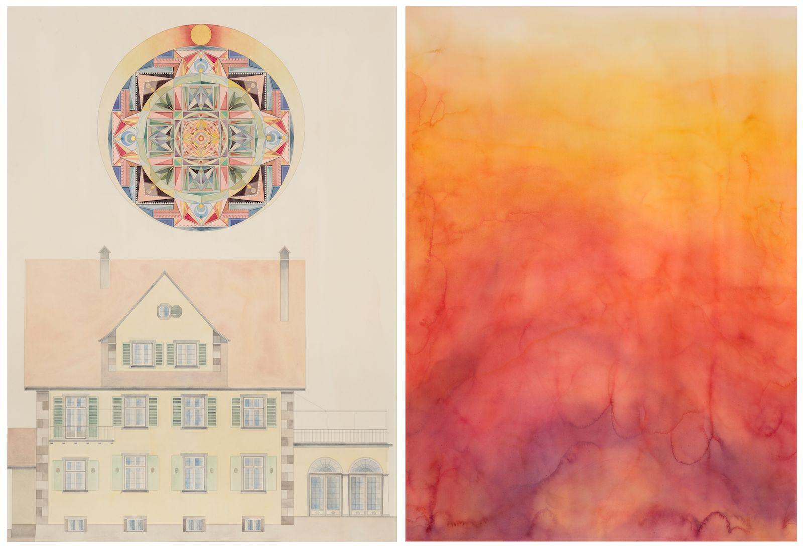 Das Haus des C.G Jungs mit Mandala II / Der Traum IV, 2013, watercolour and gold-leaf on paper, 196 x 144 cm / 196 x 144 cm