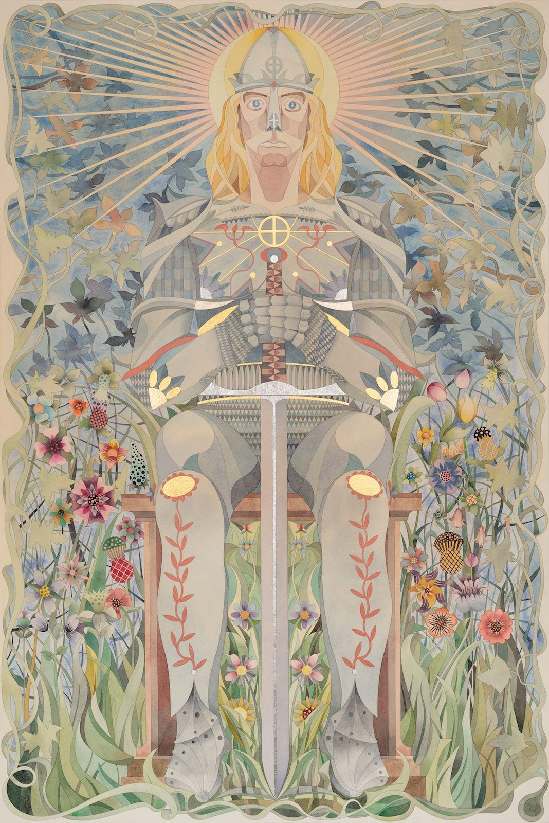 Der Menschheits Representant, 2013, watercolour, gold-leaf and palladium leaf on paper, 50 x 100 cm