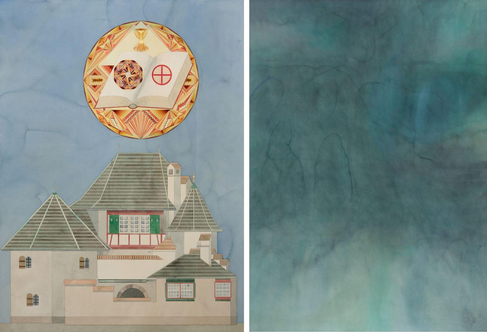 Haus Bollingen mit Gral / Der Traum VI, 2013, watercolour and gold-leaf on paper, 198 x 146 / 198 x 146 cm