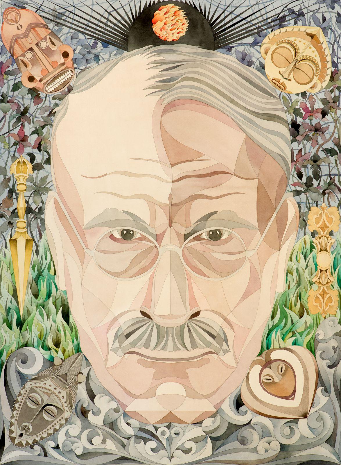 C.G. Jung Portrait, 2013, watercolour on paper, 156 x 112 cm