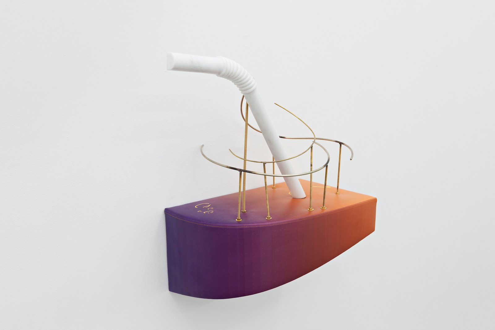 The Deconstruction Of Leisure, 2013, White marble, inkjet print on leatherette, wood, zinc, brass, bronze fittings, 70 x 58 x 32 cm