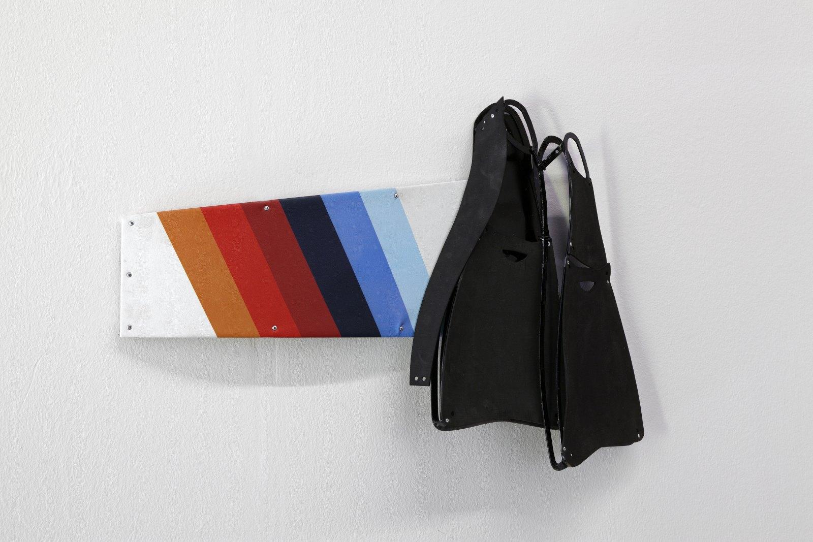 Off Shore, 2013, Iron, rubber, inkjet print on leatherette, galvanized iron, spray paint, 52 x 77 x 11 cm