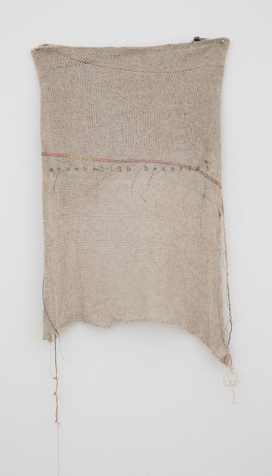 Faltered diffidence, 2014, knitting, silk and embroidery, 90 x 33 cm